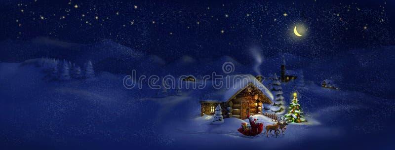Το Santa με παρουσιάζει, deers, χριστουγεννιάτικο δέντρο, καλύβα. Τοπίο πανοράματος ελεύθερη απεικόνιση δικαιώματος