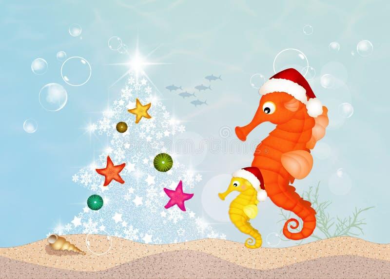 Το Seahorses γιορτάζει τα Χριστούγεννα διανυσματική απεικόνιση