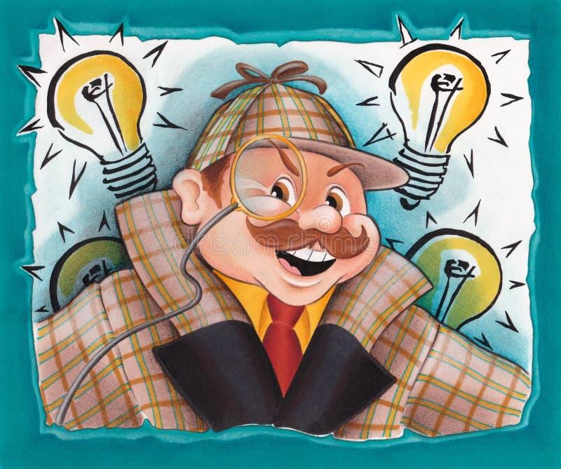 Το Sherlock Holmes έχει πάντα τα cIdea - απεικόνιση - κινούμενα σχέδια ελεύθερη απεικόνιση δικαιώματος