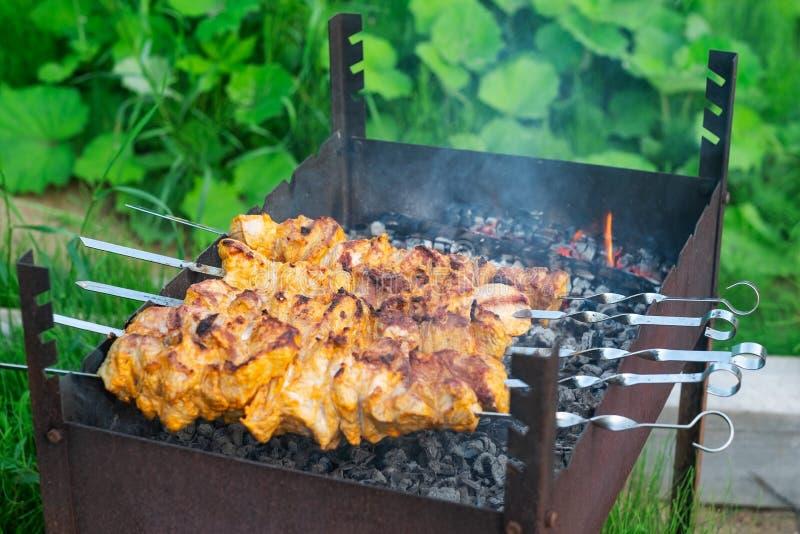 Το Shish kebab στο στάδιο να μαγειρεψει ανοίγει πυρ επάνω στοκ φωτογραφίες