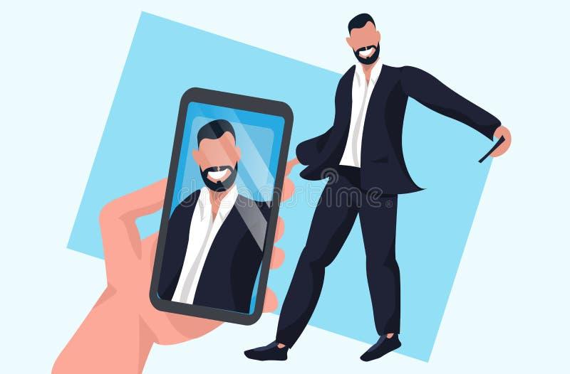 Το smartphone εκμετάλλευσης χεριών και η λήψη της φωτογραφίας στη στάση επιχειρηματιών καμερών θέτουν την αρσενική τοποθέτηση χαρ απεικόνιση αποθεμάτων