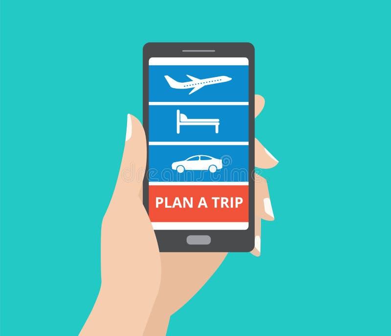 Το smartphone εκμετάλλευσης χεριών με τα εικονίδια για το ξενοδοχείο, πτήση, αυτοκίνητο και προγραμματίζει ένα κουμπί ταξιδιού στ διανυσματική απεικόνιση