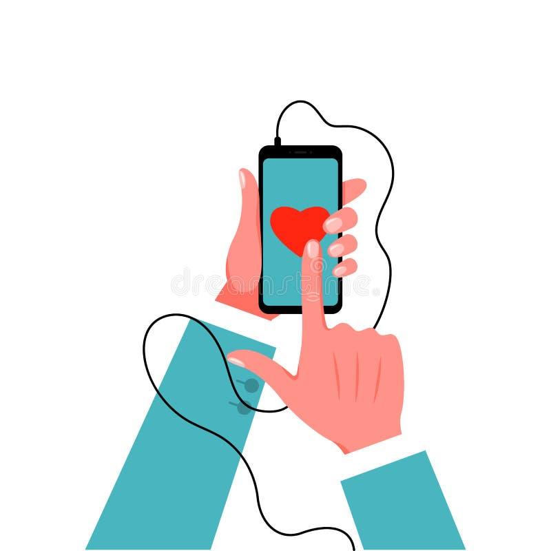 Το Smartphone στο αρσενικό παραδίδει το κοστούμι επίσης corel σύρετε το διάνυσμα απεικόνισης διανυσματική απεικόνιση