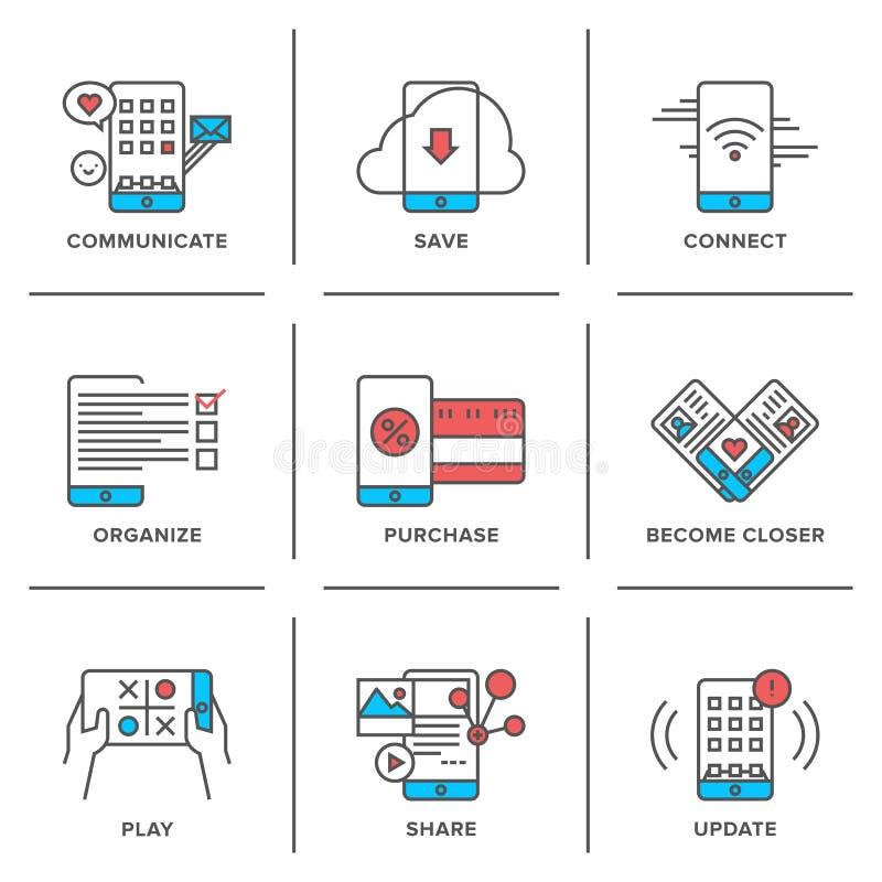 Το Smartphone χαρακτηρίζει τα εικονίδια γραμμών καθορισμένα απεικόνιση αποθεμάτων