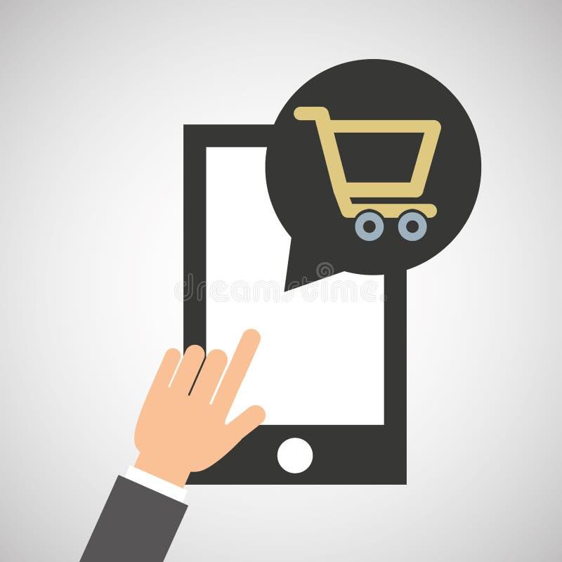 Το Smartphone app αγοράζει το σε απευθείας σύνδεση κοινωνικό εικονίδιο μέσων αγοράς απεικόνιση αποθεμάτων