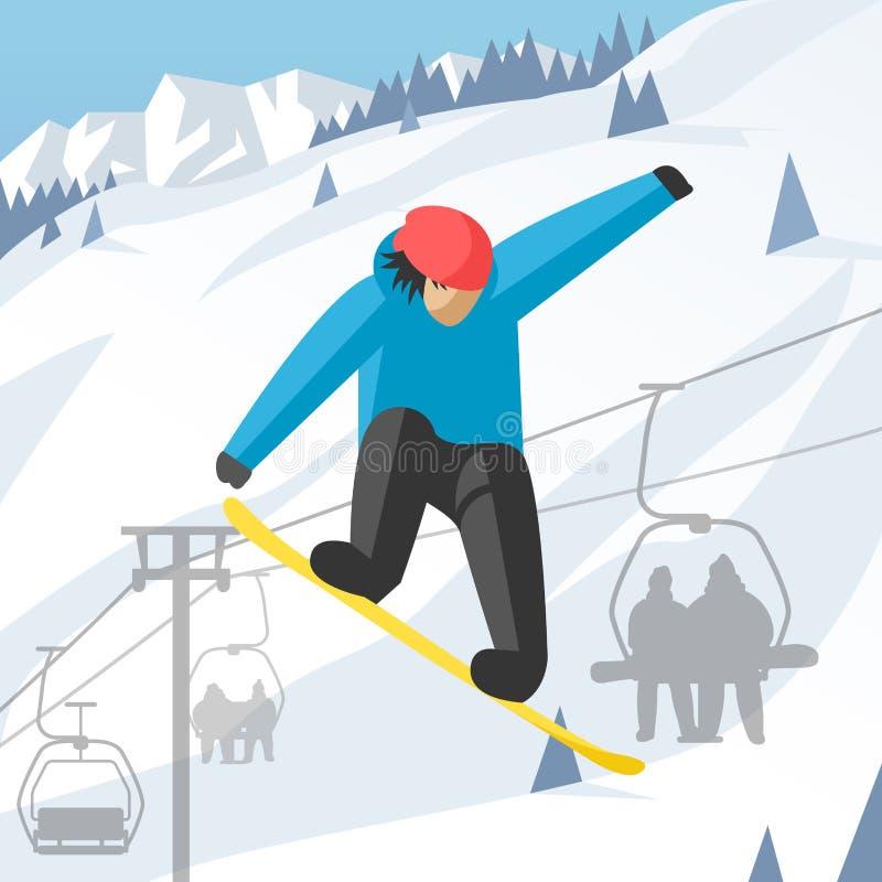 Το Snowboarder που πηδά θέτει στο χειμώνα υπαίθριο απεικόνιση αποθεμάτων