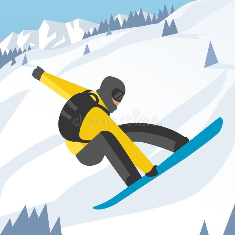Το Snowboarder που πηδά θέτει στο χειμώνα υπαίθριο ελεύθερη απεικόνιση δικαιώματος