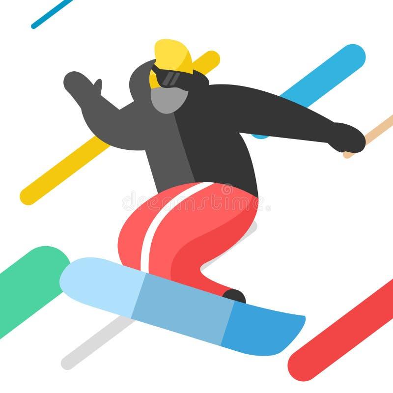 Το Snowboarder που πηδά θέτει στο χειμώνα υπαίθριο διανυσματική απεικόνιση