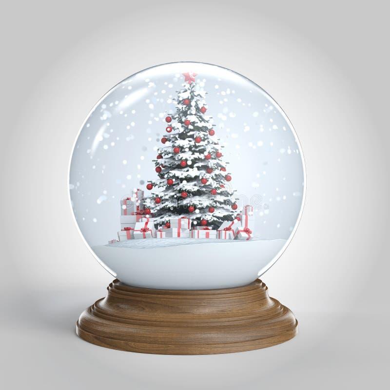 Το Snowglobe με το χριστουγεννιάτικο δέντρο και παρουσιάζει μέσα διανυσματική απεικόνιση