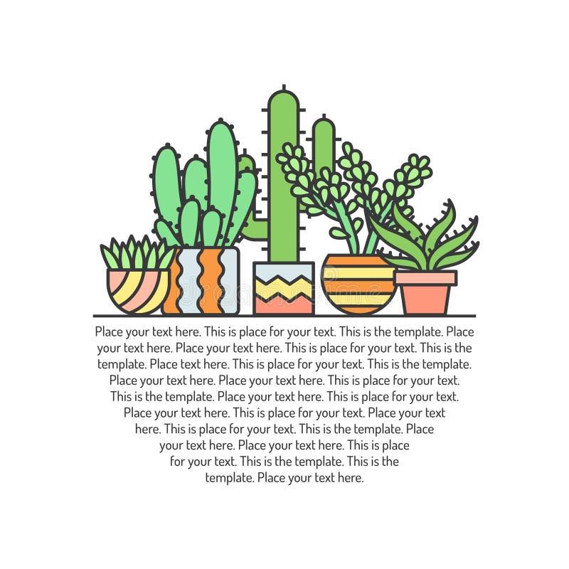 Το Succulents και οι κάκτοι περιγράφουν το πολύχρωμο διανυσματικό υπόβαθρο Σχέδιο Minimalistic μέρος τρία διανυσματική απεικόνιση