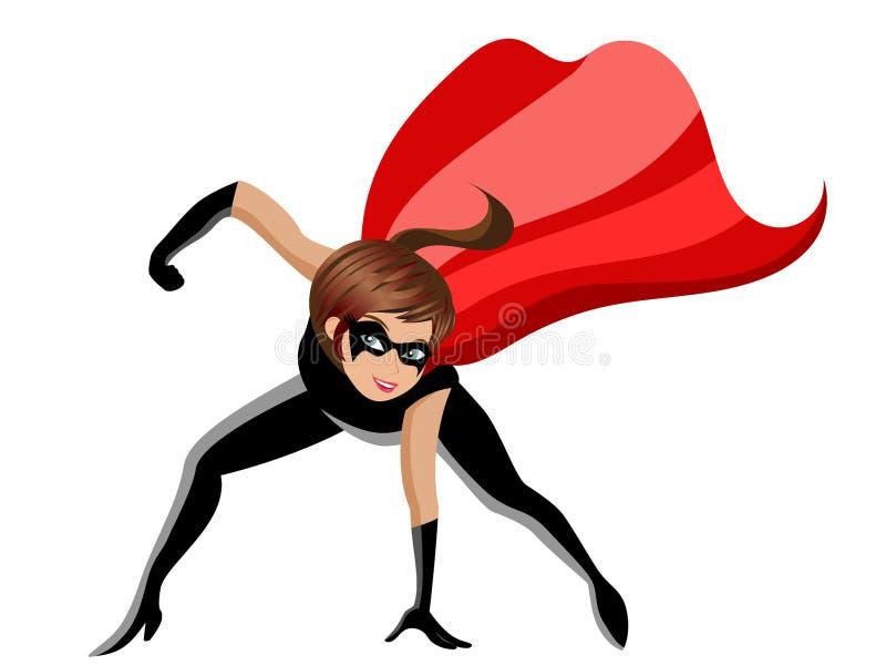 Το Superhero ή ο έξοχος αγώνας γυναικών ηρώων θέτει απομονωμένος διανυσματική απεικόνιση