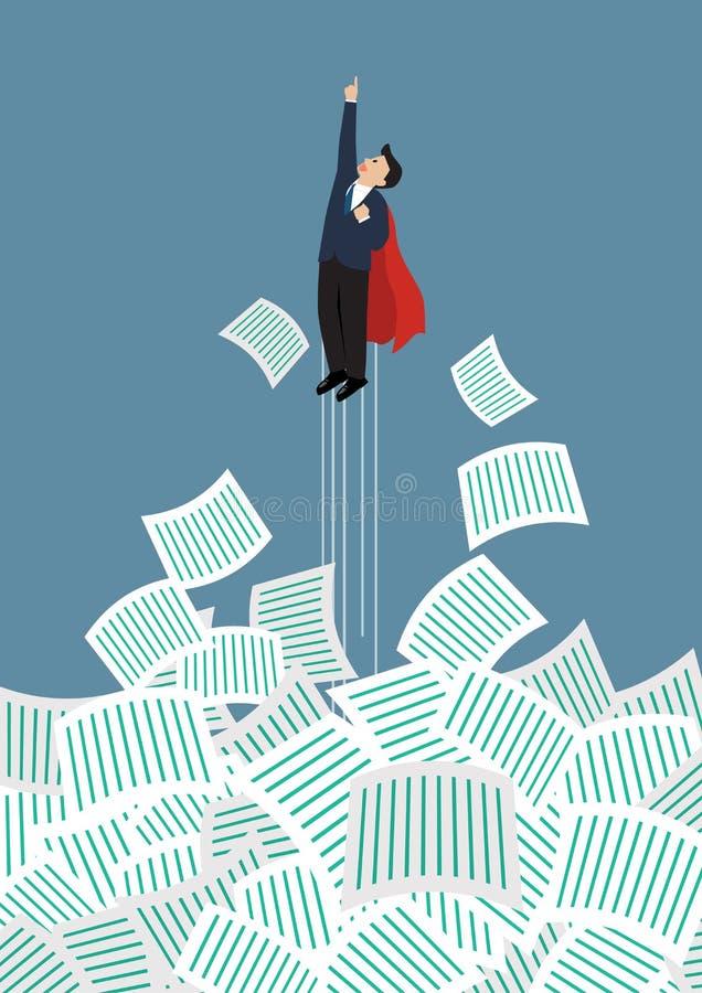 Το superhero επιχειρηματιών παίρνει μακρυά από πολλά έγγραφα διανυσματική απεικόνιση