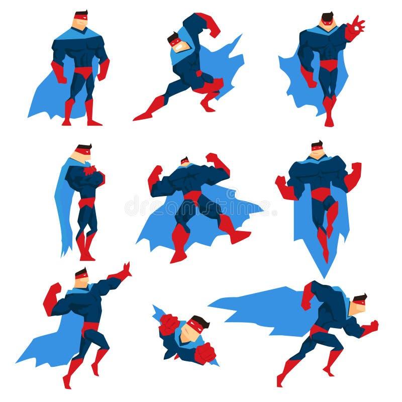 Το Superhero με το μπλε ακρωτήριο στο διαφορετικό κλασικό Comics θέτει τις αυτοκόλλητες ετικέττες ελεύθερη απεικόνιση δικαιώματος