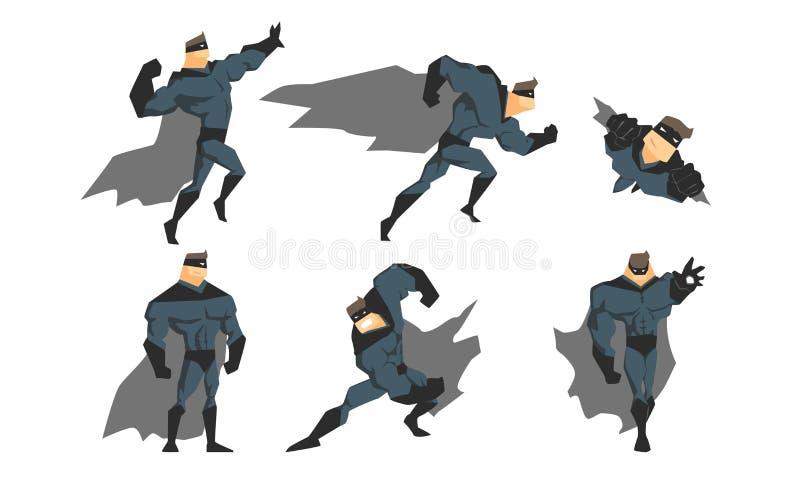 Το Superhero στη διαφορετική δράση θέτει το σύνολο, το θαρραλέο χαρακτήρα Superhero στο γκρίζο κοστούμι, τους κυματίζοντας επενδύ απεικόνιση αποθεμάτων