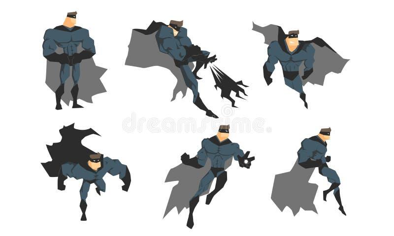 Το Superhero στο γκρίζο κοστούμι και τη μαύρη μάσκα στη διαφορετική δράση θέτει το σύνολο, θαρραλέο διάνυσμα χαρακτήρα Superhero ελεύθερη απεικόνιση δικαιώματος
