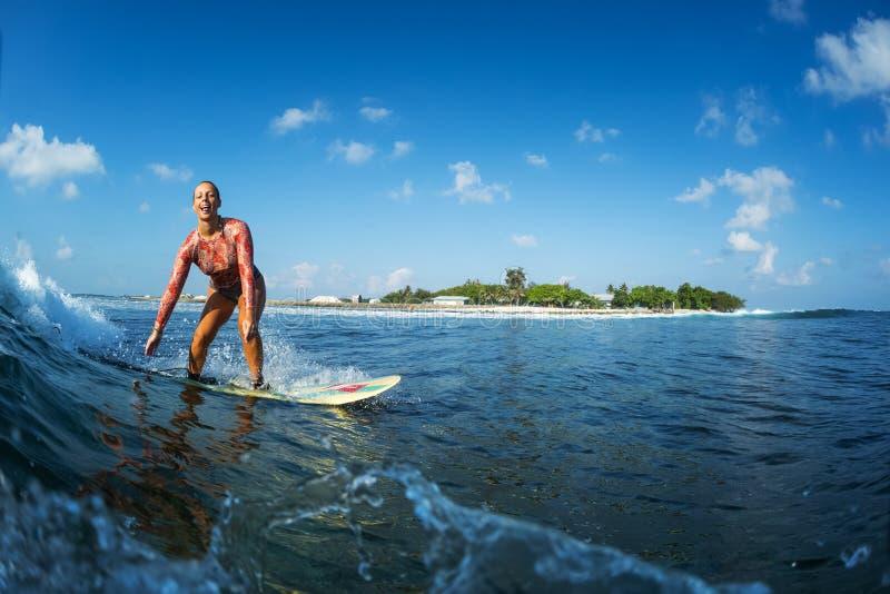 Το Surfer οδηγά το σαφές ωκεάνιο κύμα στοκ εικόνα