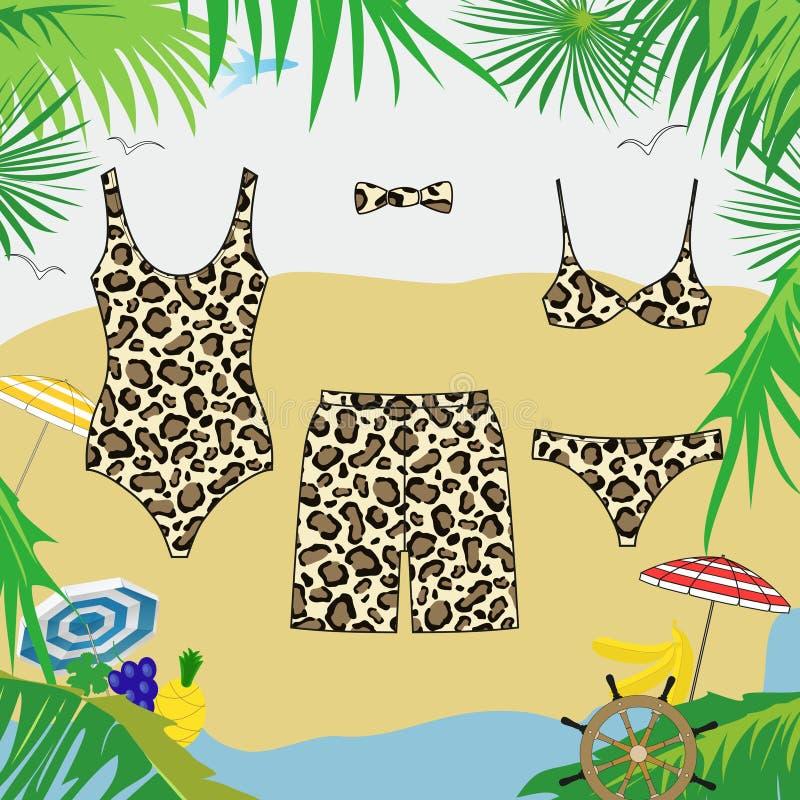 Το Swimwear και κολυμπά τα σορτς με το σχέδιο λεοπαρδάλεων Διανυσματική εικόνα των ενδυμάτων απεικόνιση αποθεμάτων