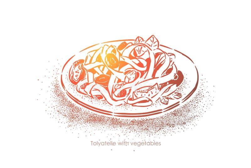 Το Tagliatelle με τα λαχανικά, παραδοσιακή κουζίνα, νόστιμα νουντλς με τα veggies καρύκεψε με το έλαιο και το άλας ελιών απεικόνιση αποθεμάτων