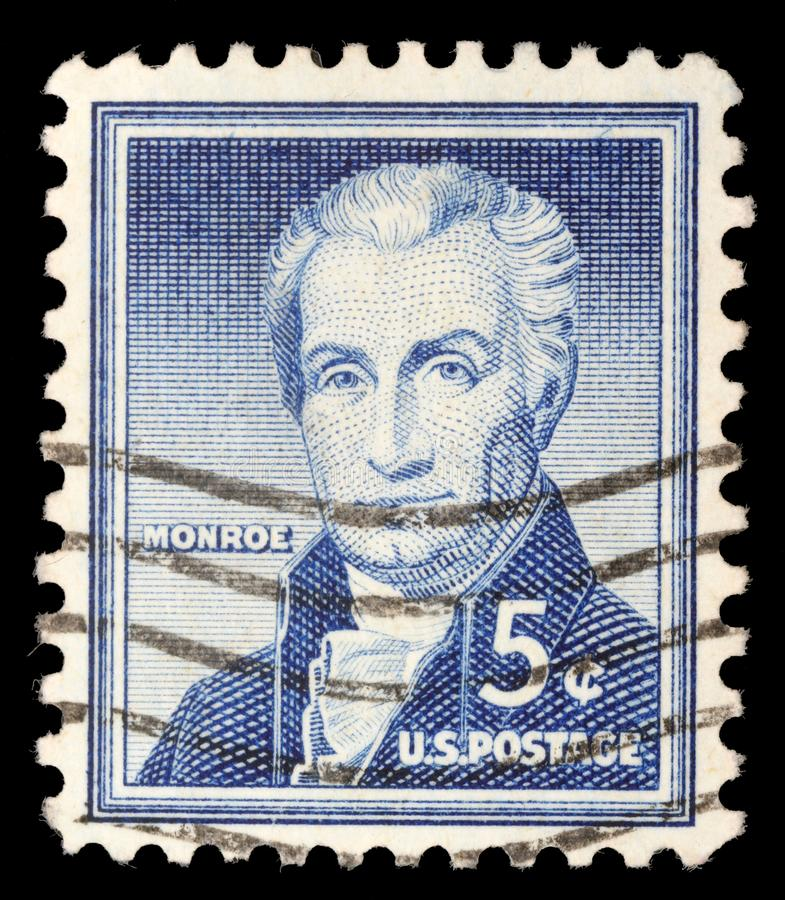 Το Tamp που τυπώνεται στις Ηνωμένες Πολιτείες παρουσιάζει πορτρέτο του πέμπτου Προέδρου των Η. Π. Α. James Μονρόε στοκ εικόνες με δικαίωμα ελεύθερης χρήσης