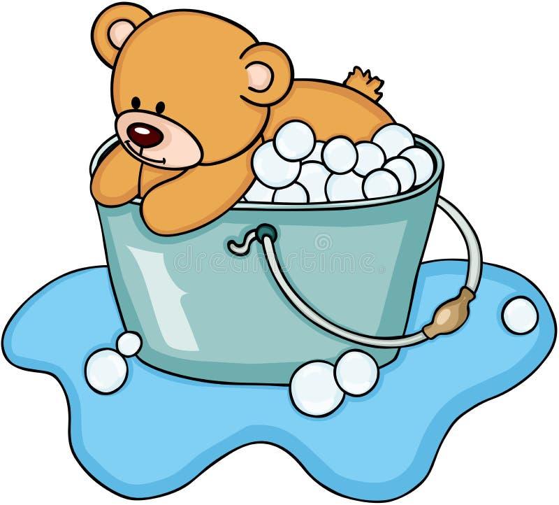 Το Teddy αντέχει ένα λουτρό φυσαλίδων απεικόνιση αποθεμάτων