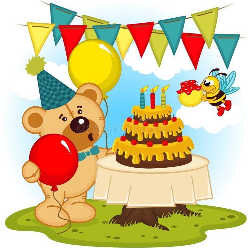 Το Teddy αντέχει γιορτάζει τα γενέθλια διανυσματική απεικόνιση