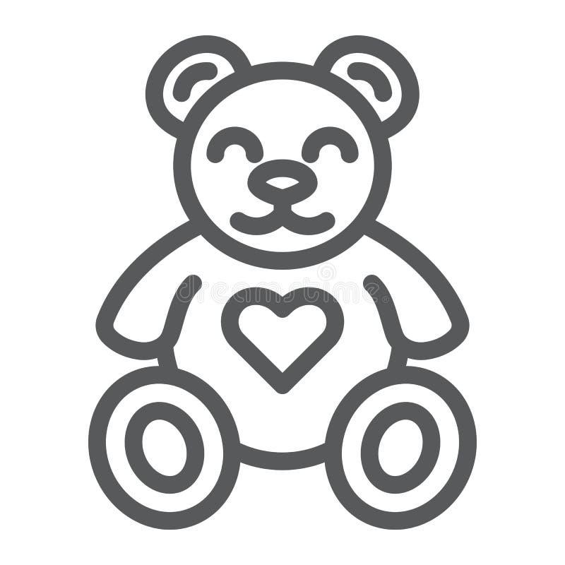 Το Teddy αντέχει το εικονίδιο γραμμών, το ζώο και το παιδί, σημάδι παιχνιδιών βελούδου, διανυσματική γραφική παράσταση, ένα γραμμ διανυσματική απεικόνιση