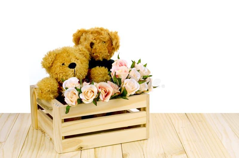 Το Teddy αντέχει και οδοντώνει τα τριαντάφυλλα στο κιβώτιο ξύλου πεύκων σε άσπρο Backgrou στοκ εικόνες με δικαίωμα ελεύθερης χρήσης