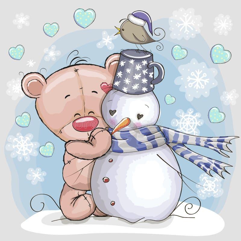 Το Teddy αντέχει και χιονάνθρωπος ελεύθερη απεικόνιση δικαιώματος