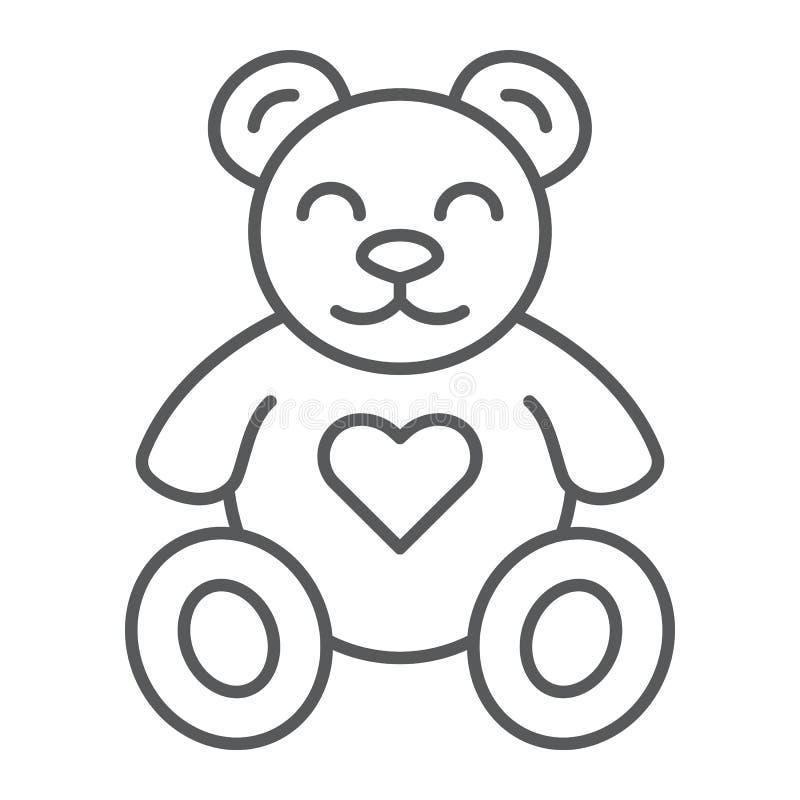 Το Teddy αντέχει το λεπτά εικονίδιο γραμμών, το ζώο και το παιδί, σημάδι παιχνιδιών βελούδου, διανυσματική γραφική παράσταση, ένα διανυσματική απεικόνιση