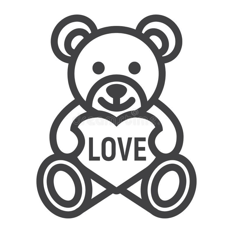 Το Teddy αντέχει με το εικονίδιο γραμμών καρδιών, ημέρα βαλεντίνων ελεύθερη απεικόνιση δικαιώματος