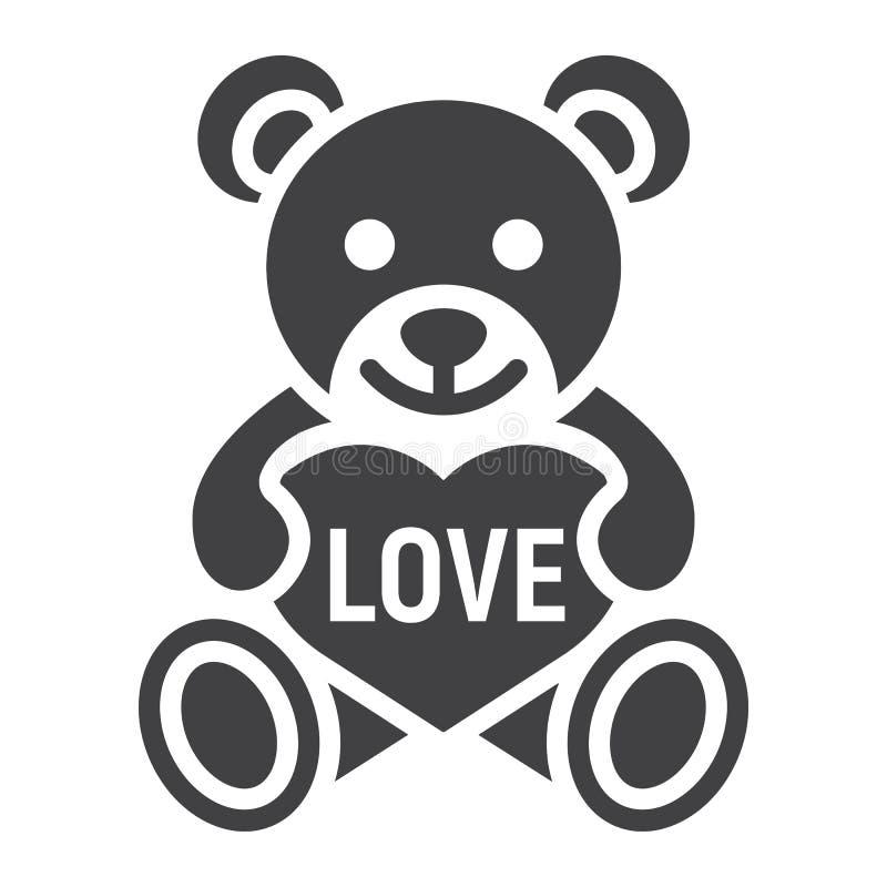 Το Teddy αντέχει με το εικονίδιο καρδιών glyph, ημέρα βαλεντίνων διανυσματική απεικόνιση