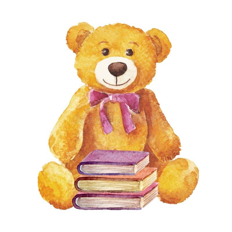 Το Teddy αντέχει με τα βιβλία watercolor ελεύθερη απεικόνιση δικαιώματος