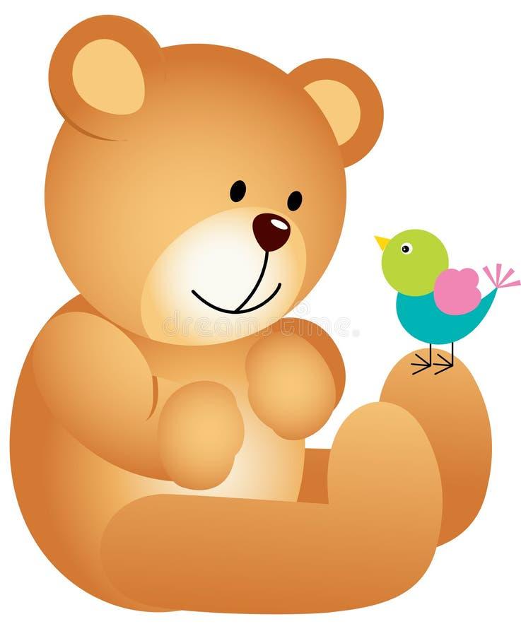 Το Teddy αντέχει με το πουλί διανυσματική απεικόνιση