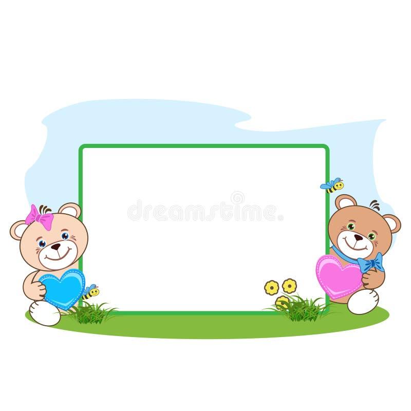Το Teddy αντέχει με το πλαίσιο καρδιών απεικόνιση αποθεμάτων