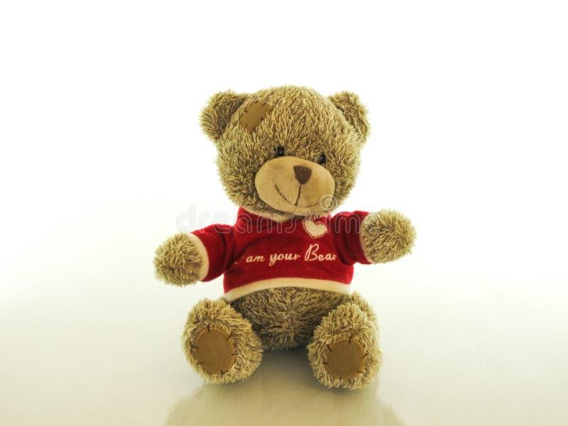 Το Teddy αντέχει προετοιμασμένος να αγκαλιάσει το πιστό μωρό φίλων του στοκ εικόνα