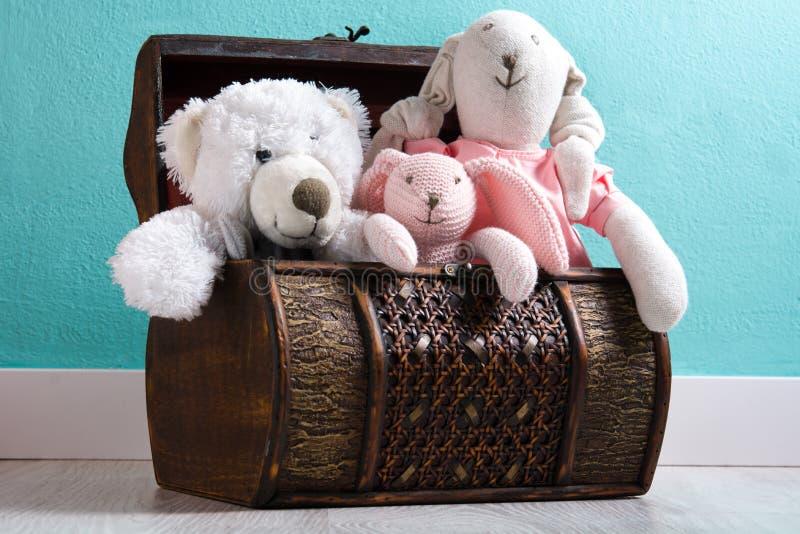 Το Teddy αντέχει σε ένα στήθος στοκ εικόνες με δικαίωμα ελεύθερης χρήσης