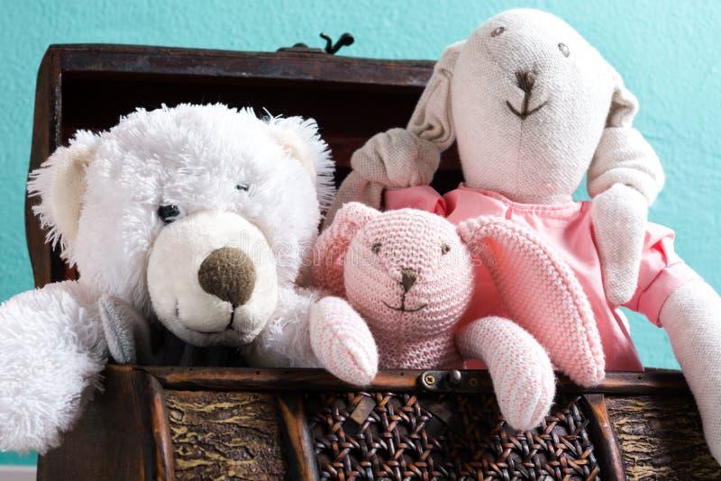 Το Teddy αντέχει σε ένα στήθος στοκ εικόνα με δικαίωμα ελεύθερης χρήσης
