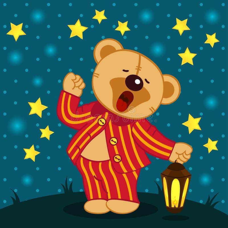 Το Teddy αντέχει στα χασμουρητά πυτζαμών διανυσματική απεικόνιση