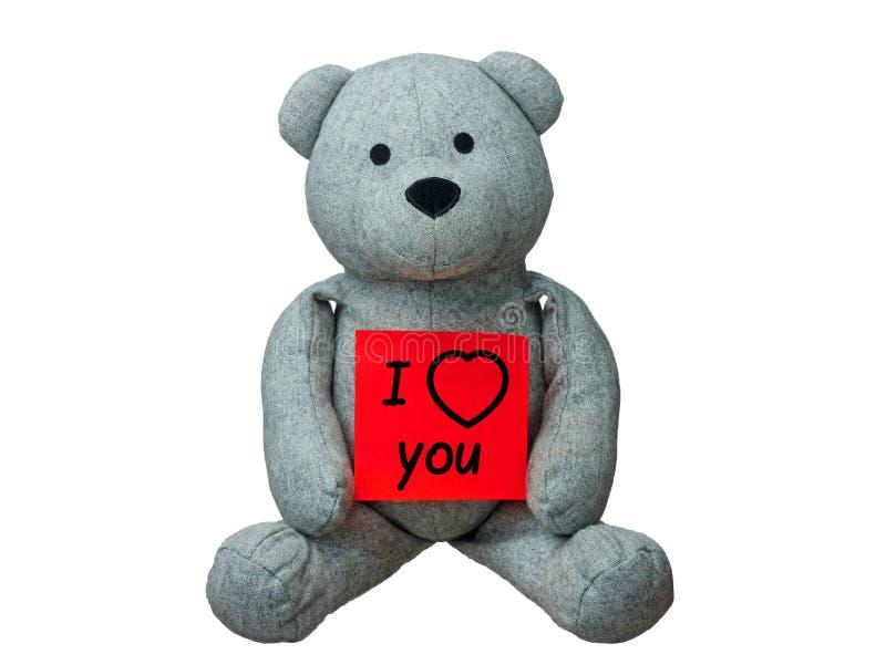 Το Teddy αντέχει σ' αγαπώ το μήνυμα που απομονώνεται στοκ φωτογραφίες με δικαίωμα ελεύθερης χρήσης