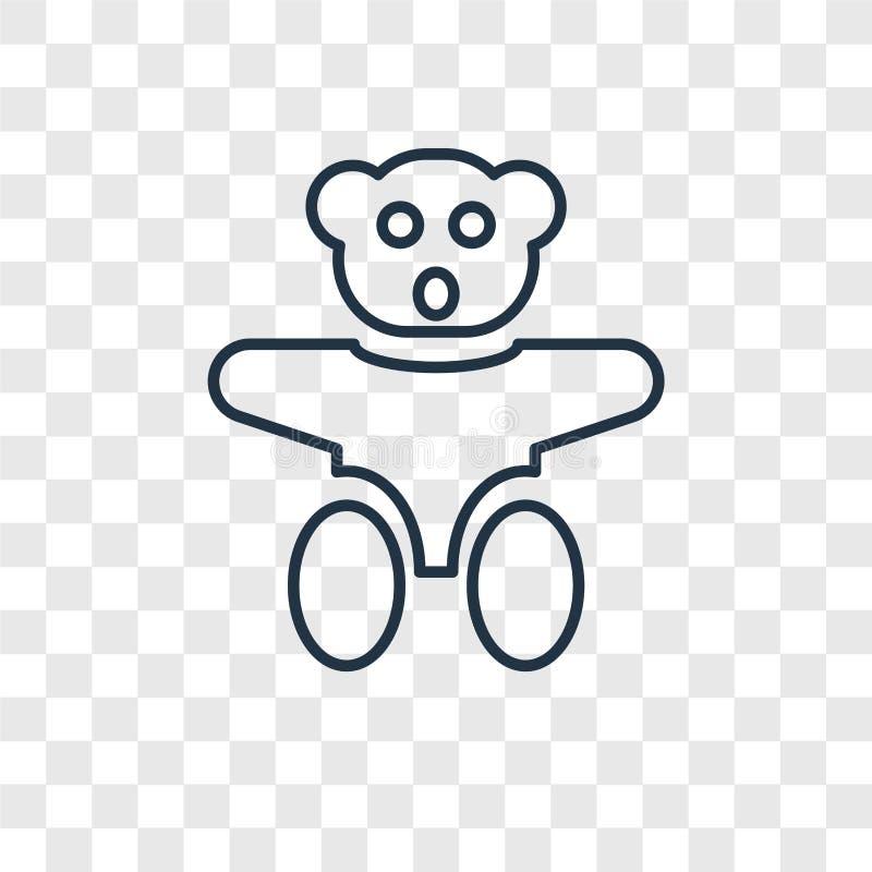 Το Teddy αντέχει την έννοια παιχνιδιών που το διανυσματικό γραμμικό εικονίδιο που απομονώνεται επάνω απεικόνιση αποθεμάτων