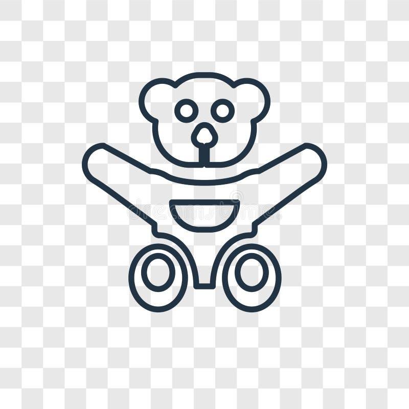 Το Teddy αντέχει την έννοια παιχνιδιών που το διανυσματικό γραμμικό εικονίδιο που απομονώνεται επάνω διανυσματική απεικόνιση