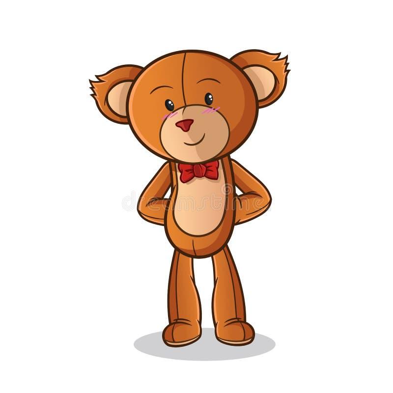 Το Teddy αντέχει την ντροπαλή απεικόνιση τέχνης κινούμενων σχεδίων μασκότ διανυσματική ελεύθερη απεικόνιση δικαιώματος