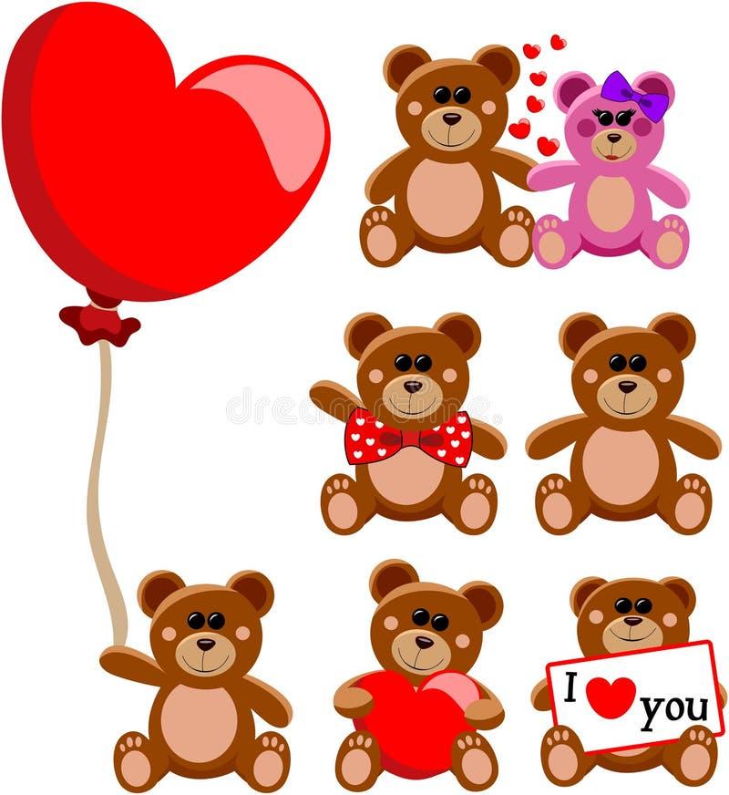 Το Teddy αντέχει τη συλλογή αγάπης βαλεντίνων ελεύθερη απεικόνιση δικαιώματος