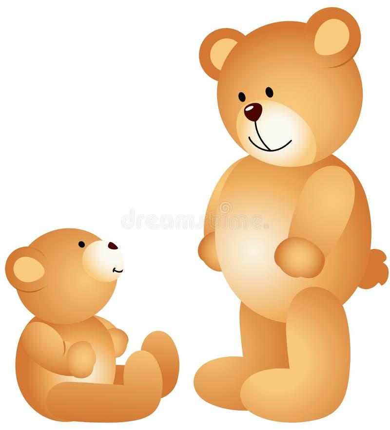 Το Teddy αντέχει τον μπαμπά με το γιο ελεύθερη απεικόνιση δικαιώματος