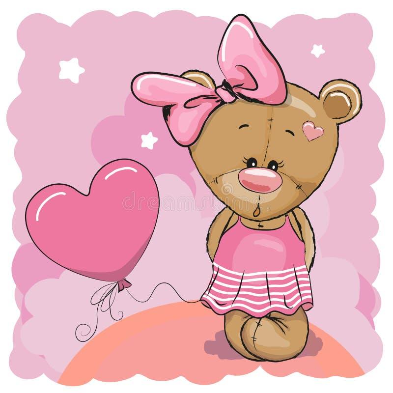 Το Teddy αντέχει το κορίτσι με το μπαλόνι ελεύθερη απεικόνιση δικαιώματος