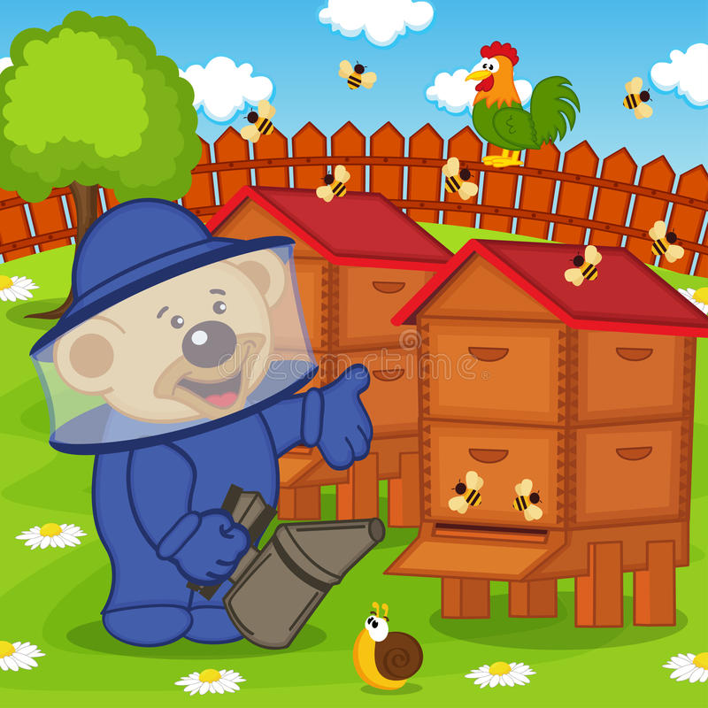 Το Teddy αντέχει το μελισσοκόμο κρατά τον καπνιστή μελισσών ελεύθερη απεικόνιση δικαιώματος