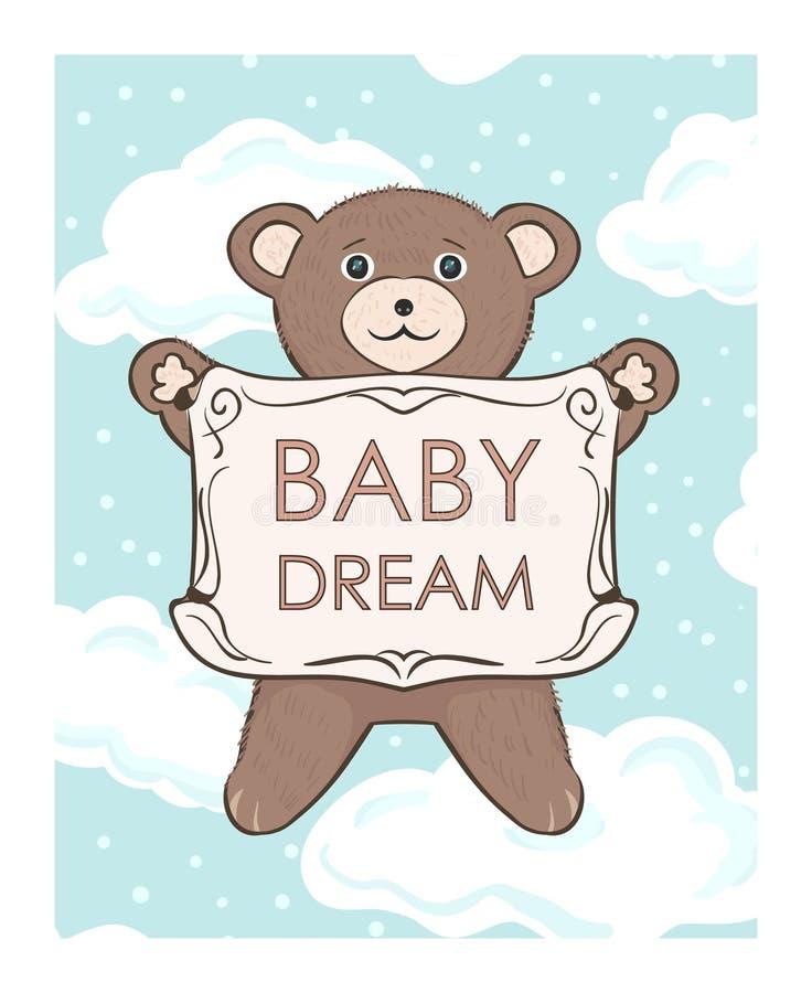 Το Teddy αντέχει cub με το πλαίσιο για το κείμενο Κατάστημα ονείρου μωρών απεικόνιση αποθεμάτων