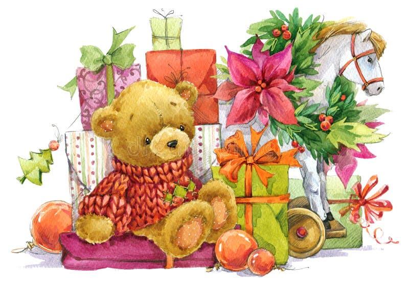 Το Teddy αντέχουν και τα δώρα Χριστουγέννων νέο έτος Χριστουγέννων αν&alpha ελεύθερη απεικόνιση δικαιώματος