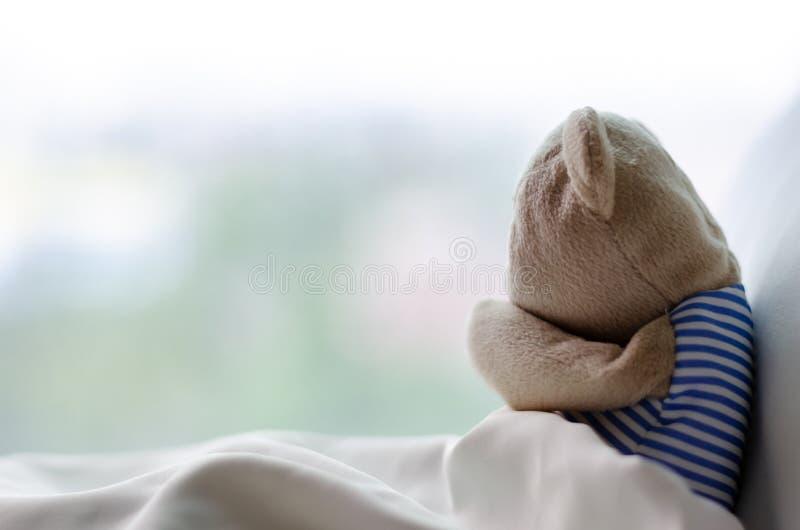 Το Teddy αφορά το αναφιλητό το κρεβάτι στη δυστυχώς ημέρα στοκ φωτογραφίες