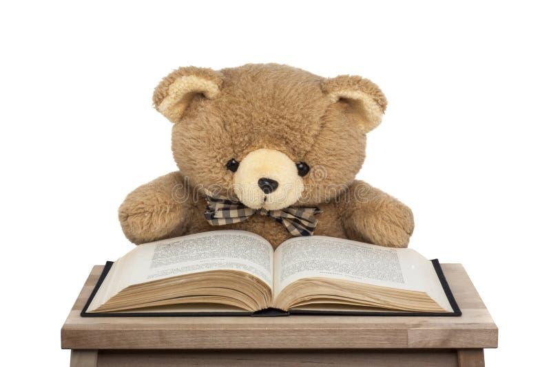 Το Teddy αφορά το βιβλίο που απομονώνεται το άσπρο υπόβαθρο στοκ φωτογραφία